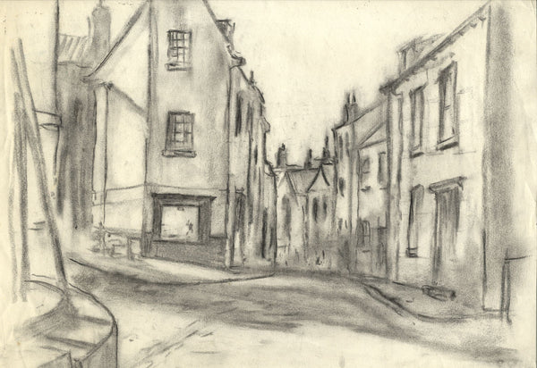 Robert Warren ARIBA, Empty Village Streets - Mid-20th-century charcoal drawing