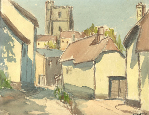Robert Warren ARIBA, Village Church Tower - Original 1946 watercolour painting
