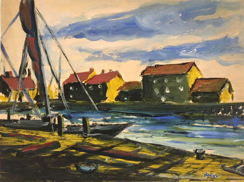 Robert Warren ARIBA, Estuary View with Sailing Boat - 1947 gouache painting