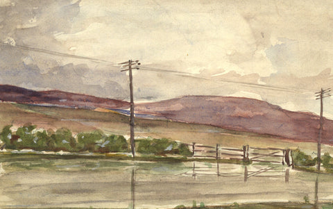 Robert Warren, Lake District Landscape with Pylons - Original mid-20th-century watercolour painting