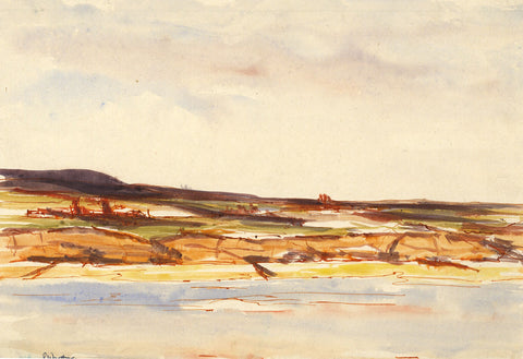 Robert Warren, Coastal View with Tree Stumps - Original mid-20th-century watercolour painting