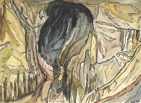 Robert Warren, Rocky Creek Gorge, New South Wales - Original 1976 watercolour painting