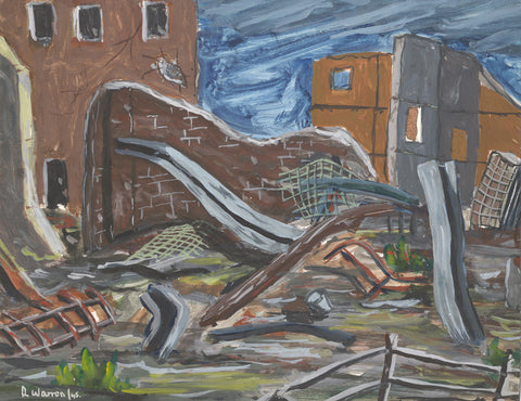 Robert Warren, WWII Bomb Damaged Town - Original 1945 gouache painting