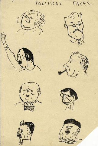 Robert Warren ARIBA, Political Caricature Portraits,Mid-20th-century ink drawing