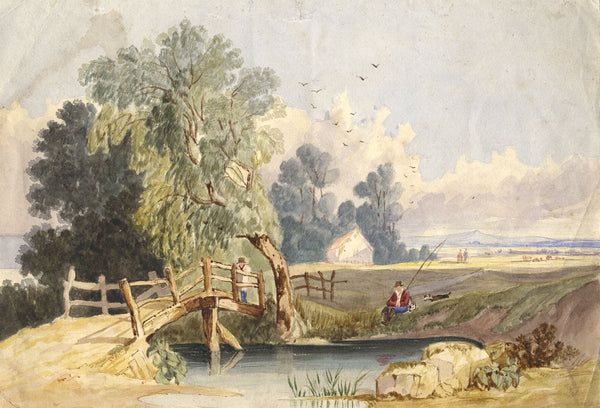 Pastoral View with Angler - Original 19th-century watercolour painting
