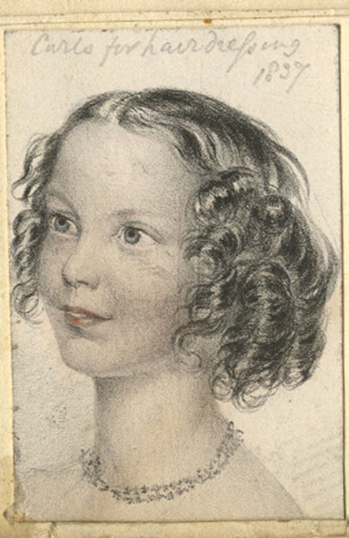Curls for Hairdressing - Original 1837 lithograph print