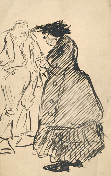 Caricature, Old Man and Woman - Original early 20th-century pen & ink drawing