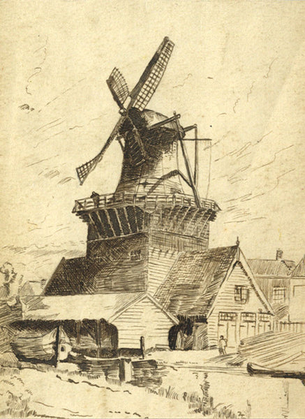 Windmill - Original 19th-century pen & ink drawing