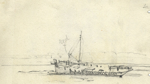 Boat on the River Hamble - Original 1901 graphite drawing