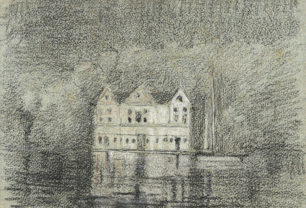 Manor House by Night on Water - Original 1900 pastel drawing