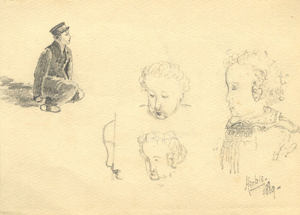 Sheet of Portrait Studies - Original 1889 graphite drawing