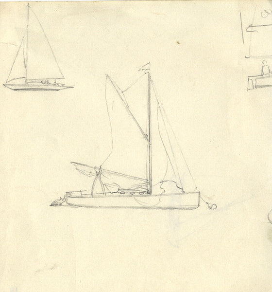 Sailing Boat Studies - Original 19th-century graphite drawing