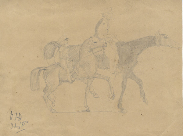 Man and Child on Horseback - Original 1850 graphite drawing
