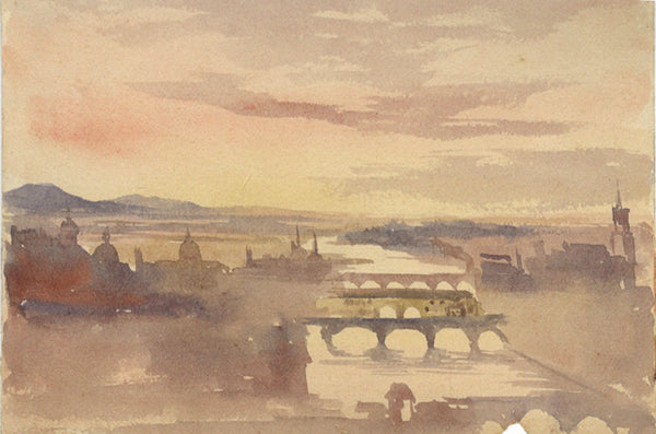 River View - Original early 20th-century watercolour painting