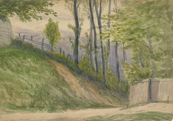 Country Lane - Original early 20th-century watercolour painting