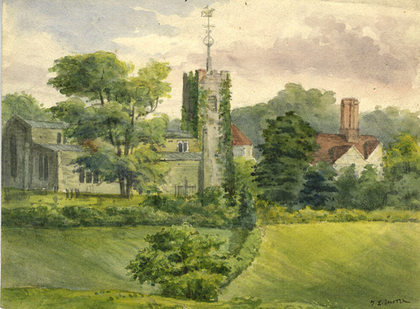 J.L. Moore, Country Church - Original early 20th-century watercolour painting