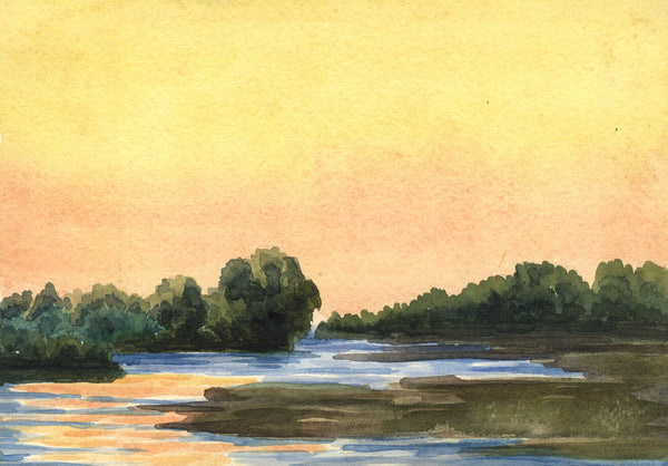 Sunset Lagoon - Original early 20th-century watercolour painting