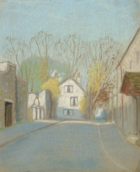 Late Winter Street - Original mid-20th-century pastel drawing