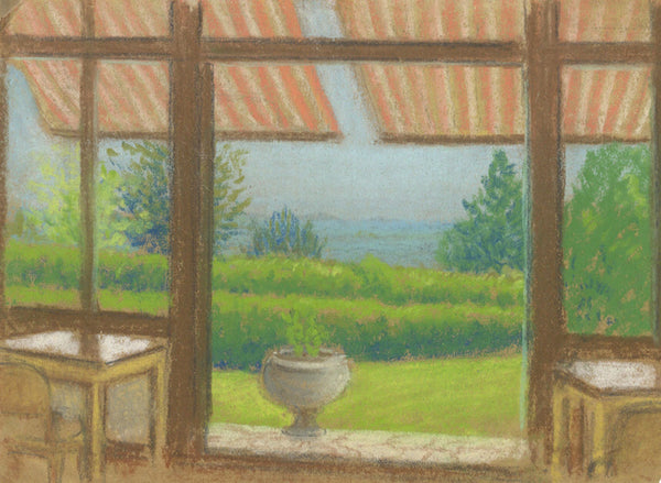 Window View - Original mid-20th-century pastel drawing