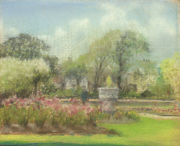 Garden View - Original mid-20th-century pastel drawing