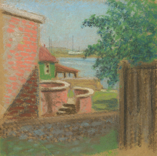 Sea View - Original mid-20th-century pastel drawing