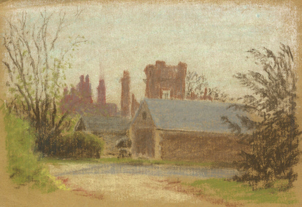 Church View - Original mid-20th-century pastel drawing