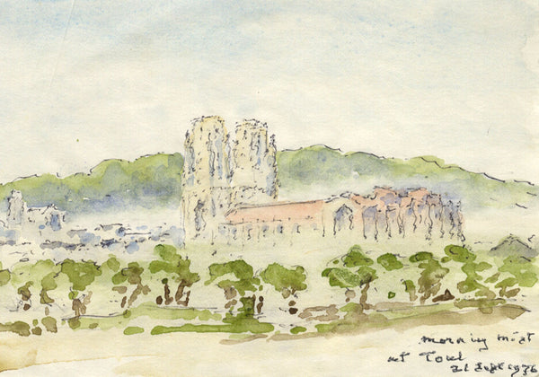 Morning Mist at Toul, France - Original 1976 watercolour painting