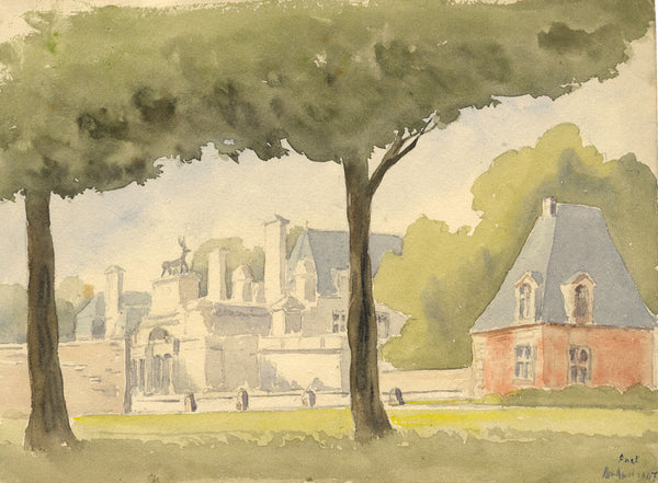 Anet, Loire Valley, France - Original 1947 watercolour painting