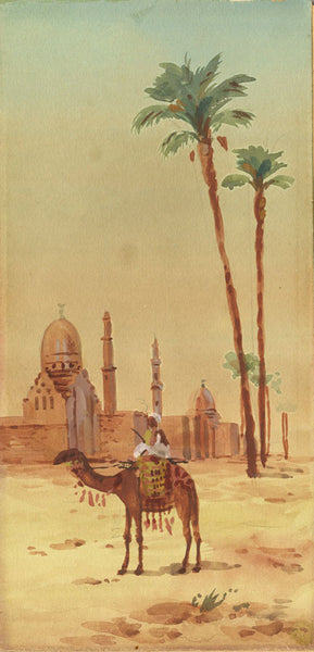 Eastern Scene with Camel - Original early 20th-century watercolour painting