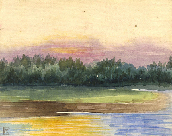 Riverbank View - Original early 20th-century watercolour painting