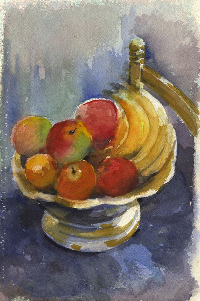 Fruit Still Life - Original mid-20th-century watercolour painting