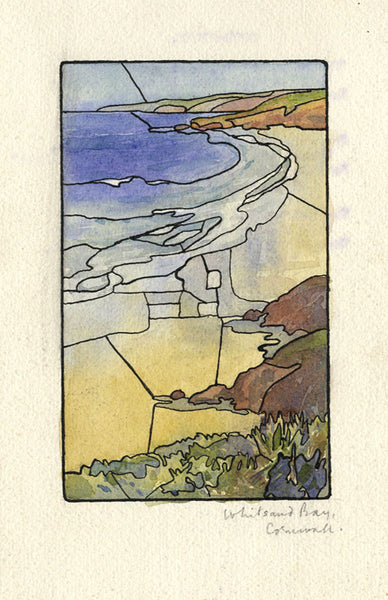 Whitsand Bay, Cornwall - Original mid-20th-century watercolour painting