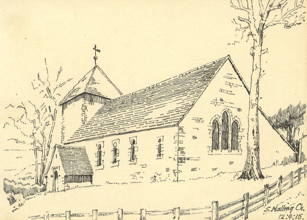 South Malling Church, Lewes, East Sussex - Original 1915 pen & ink drawing