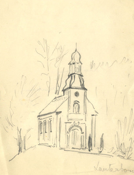 Church, Lauterborn, Luxembourg - Original 1938 graphite drawing