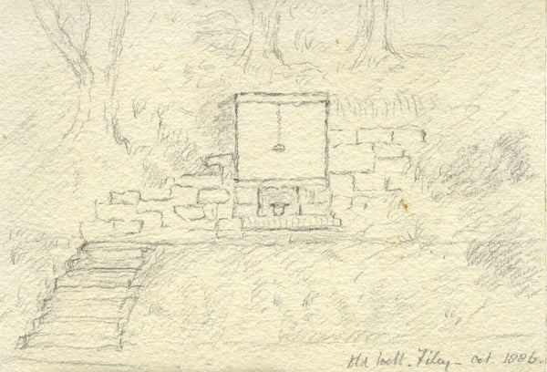 Old Well, Filey, Yorkshire - Original 1886 graphite drawing