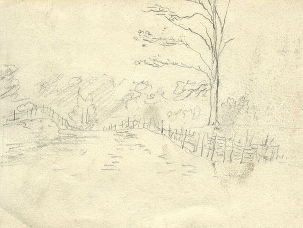 Field Landscape - Original 19th-century graphite drawing