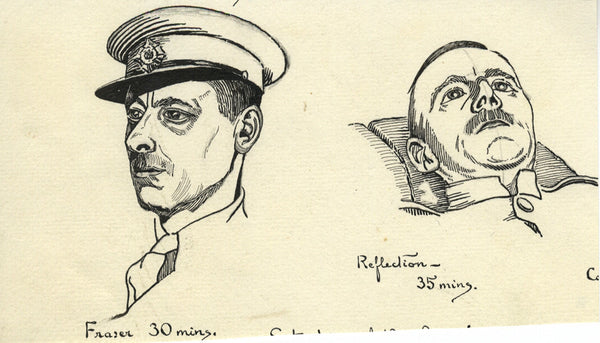 Military Portrait Studies - Original early 20th-century pen & ink drawing