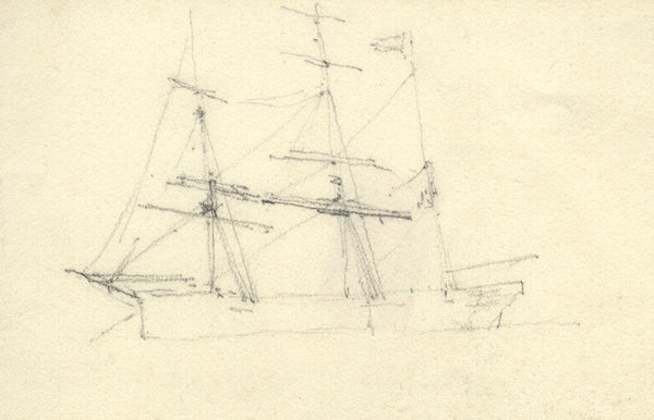 Sailing Ship - Original early 20th-century graphite drawing