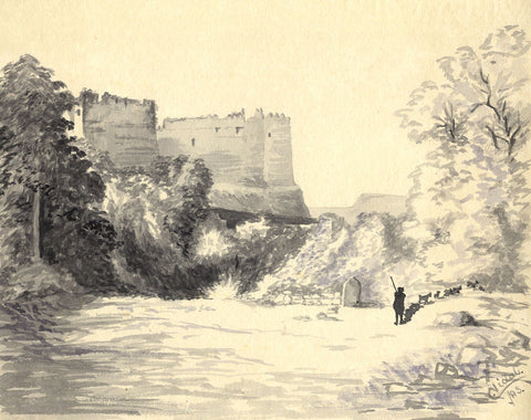 C. Vidal, Uparkot Fort, Junagadh, India - Original 1888 watercolour painting