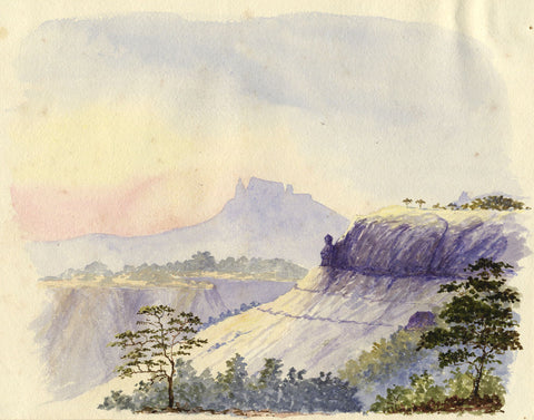 C. Vidal, Louisa Pt, Matheran India - Original 19th-century watercolour painting