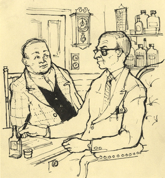 Jean Creswell, Doctor, East Anglian Magazine - Original 1957 pen & ink drawing