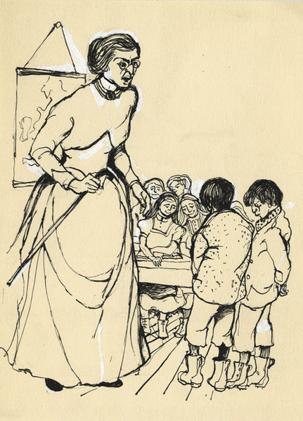 Mary Tye, Village Class, East Anglian Magazine - Original 1955 pen & ink drawing