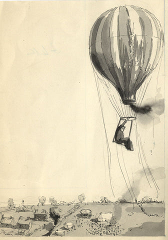 R.J. Rice, Air Balloon, East Anglian Magazine - Original 1952 pen & ink drawing