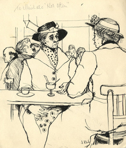 Jennifer Kent, Cartoon, East Anglian Magazine - Original 1955 pen & ink drawing