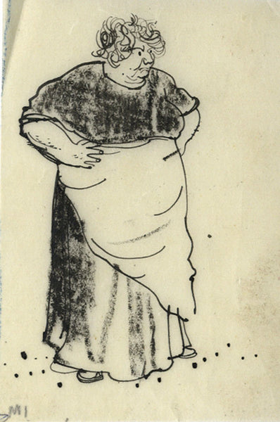 Paul Hogarth, Washer Woman - Original mid-20th-century pen & ink drawing