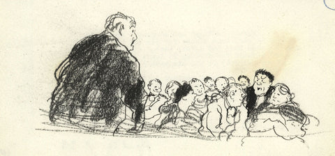 Paul Hogarth, The Sermon - Original 1956 pen & ink drawing