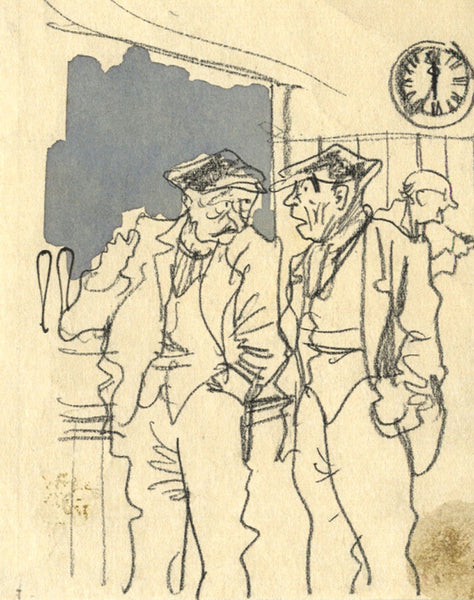 Paul Hogarth, Pub Scene - Original mid-20th-century charcoal drawing