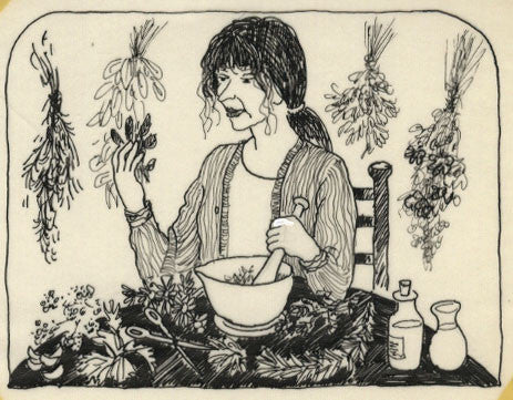 Paul Hogarth, Woman Herbalist - Original mid-20th-century pen & ink drawing