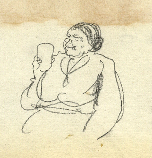 Paul Hogarth, Woman with Pint - Original 1959 charcoal drawing