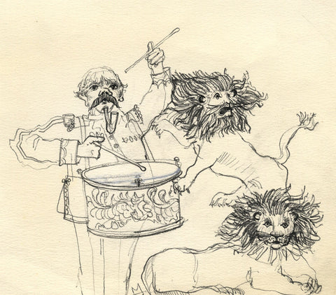 Paul Hogarth, Drummer with Lions - Original mid-20th-century charcoal drawing